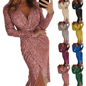 Womens Sexy Long Sleeve V Neck Split Wrap Dress Sequin Evening Ball Gown Dress