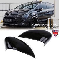 Pair Gloss Wing Mirror Cover Cap Painted For Ford Fiesta MK7 2008-2017 Black UK