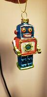 Blown Glass Robot  Christmas Ornament  NEW Blue