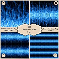 Blue Fire Pattern Printed Htv, Adhesive Vinyl, Heat Transfer Vinyl- 790