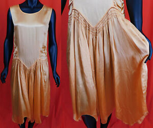 Vintage 1920s Art Deco Peach Satin Smocking Handkerchief Skirt Drop Waist Dress