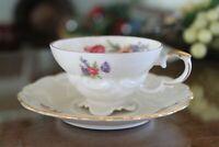 Edelstein Bavaria Porcelain Footed Teacup and Saucer Set