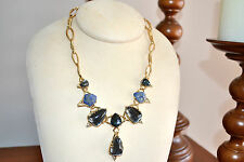 NIB $475 ALEXIS BITTAR Elements Blue Pyrite Moonstone Doublet Statement Necklace