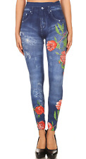 Floral Rose Print Denim Jeans Leggings Jeggings with Rhinestones One Size