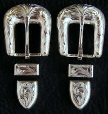 """2 - 5/8"""" Hand Engraved Silver Plated Buckle Sets - Spur Straps Headstall     #25"""