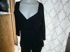 NWT Fashion Bug Size Large Black Stretch Popover Top V Neck 3/4 Sleeve Cotton