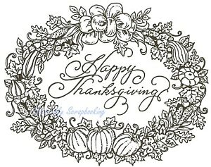 Happy Thanksgiving Oval Wreath Wood Mounted Rubber Stamp NORTHWOODS  M3713 New