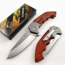 New! Mtech Large Wood Handle Silver Blade Spring-Assist Hunter Folding Knife