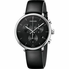 Calvin Klein Men's High Noon K8M271C1 43mm Black Dial Leather Chronograph Watch