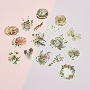 Vintage Style Stickers,Golden Age Stickers,Feather,Bird,Floral Washi Stickers