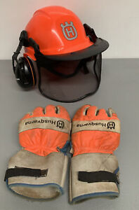 Husqvarna Orange Chainsaw Safety Helmet System Adjustable Size 54-61 W/ Gloves