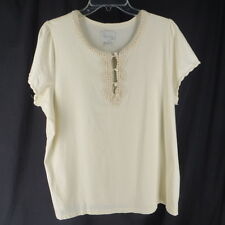 Avenue 18 20 2X TShirt Knit Top Cream Lace Trim Plus Size