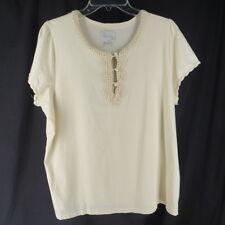 Avenue 18 20 2X TShirt Knit Top Cream Lace Trim Plus Size