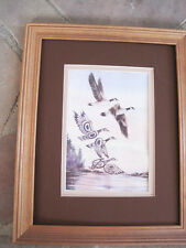 Sue Coleman CANADA GEESE Canadian artist 10 x 13 framed matted