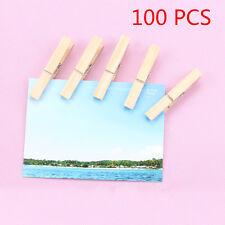 100Pcs/Set Mini DIY Wooden Clothes Photo Paper Peg Clothespin Cards Craft Clips