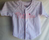 Philadelphia Phillies #25 Jim Thome Pink and White Striped Shirt Top Youth Small
