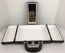 Cosmetic Travel Case Organizer 3 Sections Mirrored Black with Handle Retro