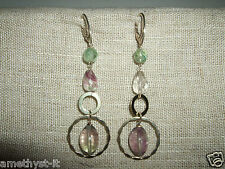 ORECCHINI EAR RINGS HAND MADE GEMSTONE FACETED FLUORITE 925 ARGENTO  SILVER