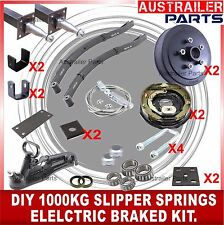 DIY 1000KG Electrical Drum Brake stub Axle Trailer Kit with Slipper springs 1T