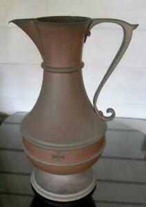 """Vintage 1896 Brass and Copper Toned 13"""" Commemorative Inscribed Funeral Ewer Urn"""