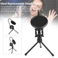 Adjustable Metal Desktop Table Mic Microphone Holder Stand Tripod Filter Bracket