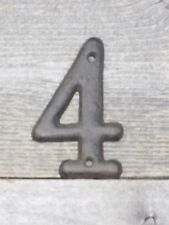 Rustic BROWN Cast Iron Metal House Numbers Street Address # Phone Number 4 FOUR