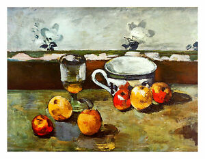 Paul Cezanne Still Life with Apples Cup and Glass Poster Kunstdruck Bild