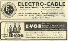 1953 Electro-cable Joint Stock Company Paris E-v-o-r Domestic Glassware Ad