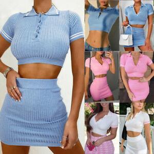 UK HOT Womens 2 Piece Co Ord Set Ladies Summer Crop Top High Waist Mini Skirt
