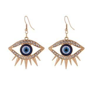 Evil Eye Blue Gold  Drop Earrings Pierced Dangle  Clear Rhinestone New Uk Seller