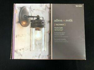 612663 allen + roth Vallymede 1-Light Bronze Farmhouse Vanity Light B10064