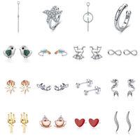 Voroco Real S925 Sterling Silver Stud Hook Earrings Charm CZ Women Chain Jewelry