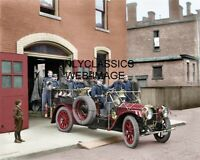 1911 CITY STATION FIREMAN OLD PACKARD FIRE TRUCK 8X10 COLORIZED PHOTO AMERICANA
