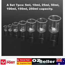 Set 5-250ml Chemistry Laboratory Glass Beaker Borosilicate Measuring Glassware
