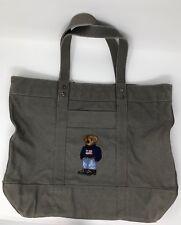 NEW Womens Polo Ralph Lauren Polo Bear Cotton Canvas Zip Tote Bag Grey ff5f094f5b490