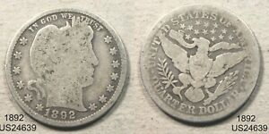 1892 Barber Quarter circulated 90% silver SAN FRANCISCO FREE SHIPPING IN U. S.