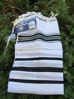 "Kosher Tallit Talit Prayer Shawl 55""X74"" Blak/Silver Adult Size # 60 From Israel"
