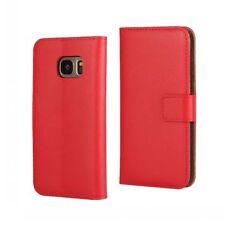 Genuine Leather Samsung Galaxy S6 Edge Luxury Red Wallet Card Flip Case I40