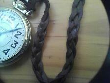 Kangaroo Leather, Pocket Watch Strap, Fob, Chain. (Brown)