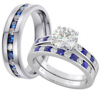 His And Hers Tungsten /925 Silver Wedding Engagement Gold Ring Set- Post From UK