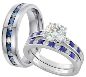 His And Hers Titanium/925 Silver Wedding Engagement Ring Set- Post From UK