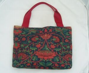 HANDMADE TOTE LARGE HAND BAG FROM VINTAGE WILLIAM MORRIS LODDEN PATTERN FABRIC