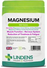 Magnesium MgO 500mg Tablets (500 pack) UK Manufacturer [Lindens 0410]