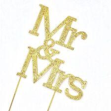 Fancy Mr & Mrs Diamond Rhinestone Cake Pick Topper in Gold
