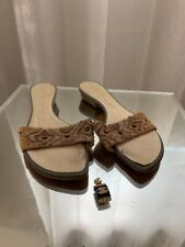 Vintage Giuseppe Zanotti Medium Heel beige Jeweled Sandals - Size 37.5 open toe