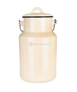 Milchkanne 2 Liter mit Deckel und Tragegriff, Emaille Hell-Gelb