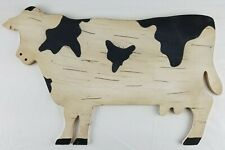 Painted Distressed Folk Art Holstein Cow Wall Hanging Plaque A9