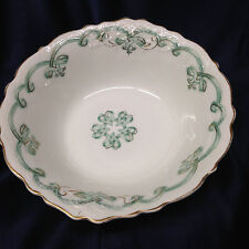 """JOHNSON BROTHERS ROLLAND GREEN VEGETABLE BOWL 9 1/2"""" GREEN SCROLLS GOLD ACCENTS"""