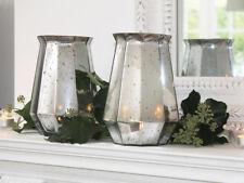 SILVER GLASS POLYGON VASE HURRICANE LAMP CANDLE HOLDER VOTIVE LANTERN CHRISTMAS
