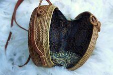 Round Rattan Bag, Summer Woven Handbag, Bohemian Shoulder, Handmade Ata Shoulder